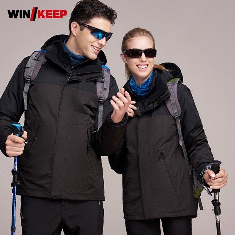 все цены на Unisex Winter Ski Jacket Mountain Hiking Fleece Warm Windbreaker Male Female Themal Camping Jackets Sportswear Fishing Coat