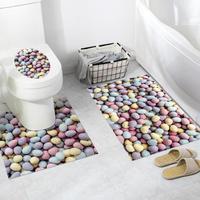 3pcs/set Bathroom Anti skid Sticker 3D PVC Self adhesive DIY Waterproof Wall Sticker Bath Toilet Floor Toilet Cover Sticker Set