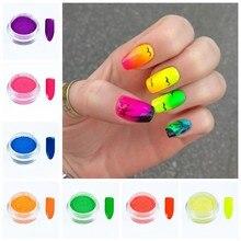 NEUE 7 Boxen Gesetzt Helle Farbe Neon Wirkung Pigment Pulver Leuchtstoff Nail art Glitter Pulver Staub Gel Pigment DIY Dekoration FPB29