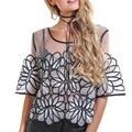 Zewo Camisa Transparente Sexy Mulheres Tops Lace Blusa Floral Camisas de Manga Curta Primavera Verão Vintage Blusas Casuais Femme 2017 Novo