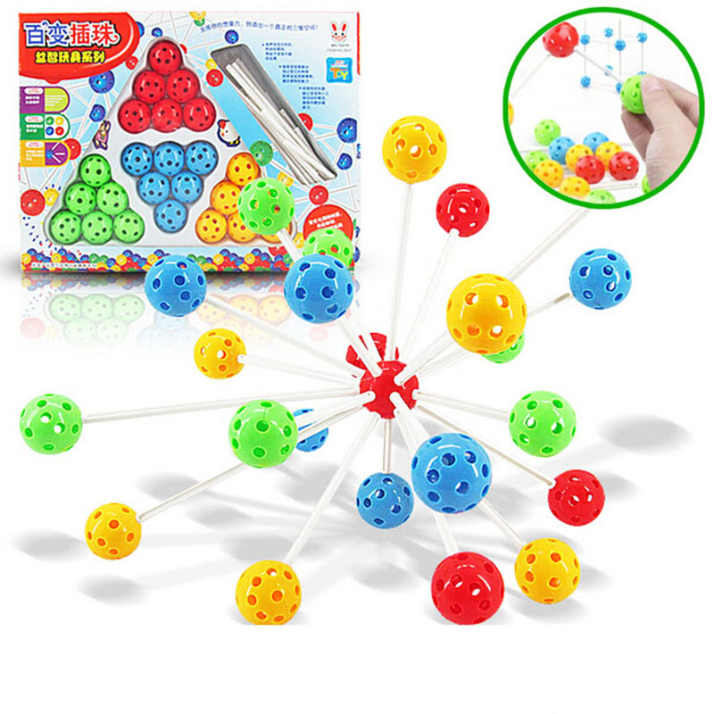 New DIY Variety Inserted Beads Block Building Blocks ABS Kids Educational Toys Plug Bead Toy 24Pcs Magical Beads