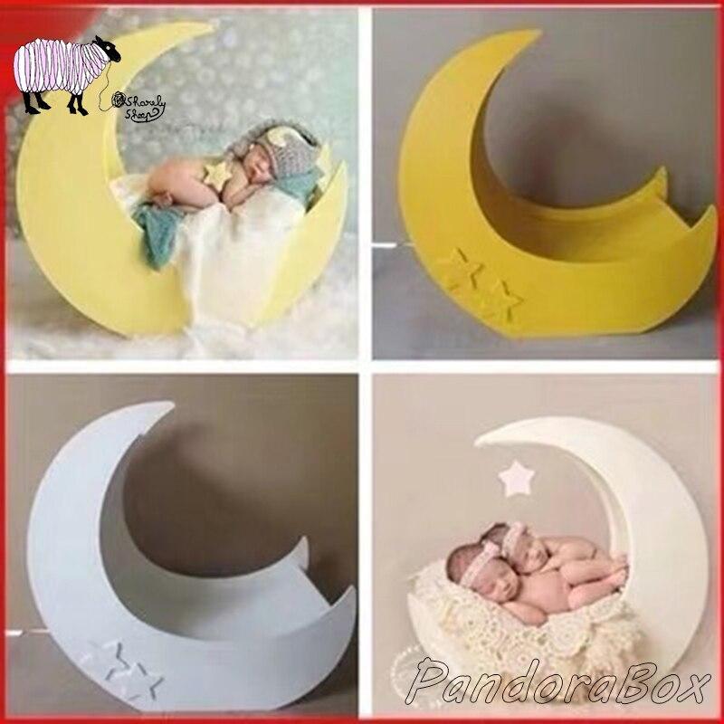 Lune et étoiles lit bébé Photo accessoires nouveau-né photographie à la main panier en bois infantile Photo séance de tir Studio posant Prop