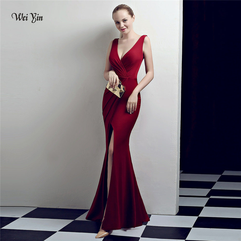 weiyin Wine Red Mermaid Evening Dress 2018 Sexy Sleeveless Split Formal  Celebrity Long Evening Gown Dresses robe longue WY1031 c7f2653b24fb