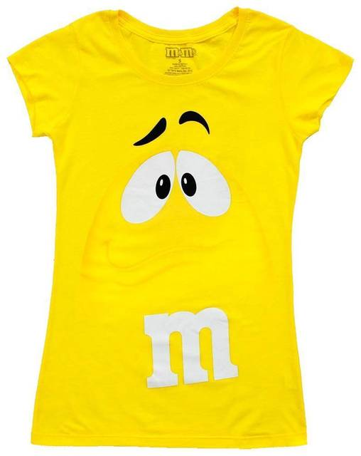 20be6faa2aab M M s Chocolate Candy Character Face Juniors Yellow T-Shirt Cartoon t shirt  men Unisex New