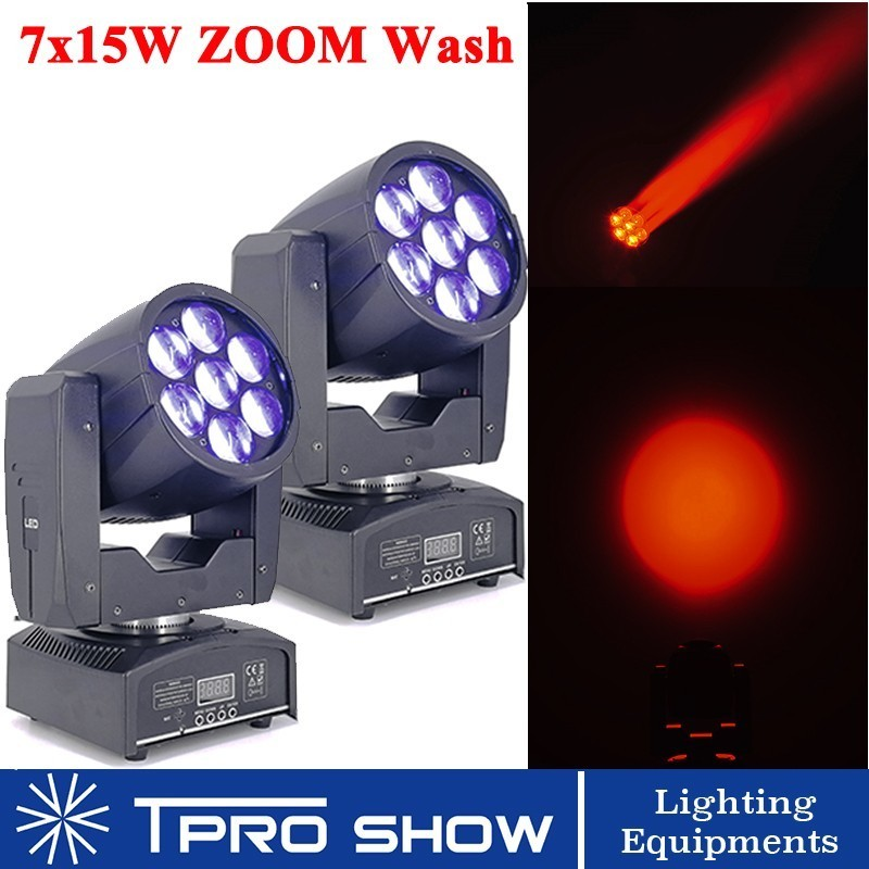 LED Moving Head 7x15W RGBW Wash Zoom Lyre Beam Stage Light Mini DJ Lighting Projector For Club Party Disco Dmx512 Sound Control