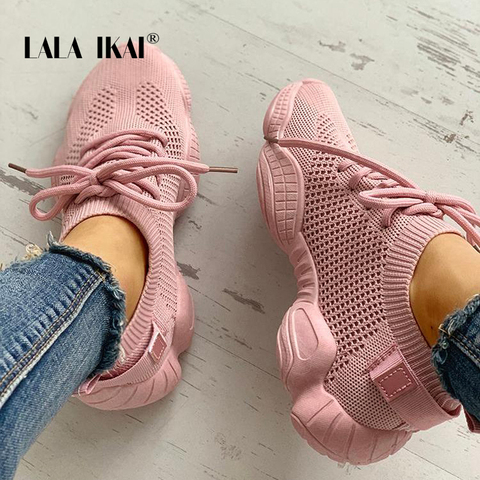 LALA IKAI Sneakers Women Spring Breathable Mesh Shoes Casual Lace Up Vulcanize Shoes Female Soft Pink Tenis Shoes 014A3796-4 Pakistan