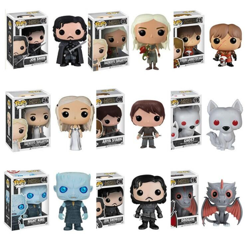 Funko Pop Game of Thrones Daenerys Stormborn Jon Snow Night King 10cm Action Figure Collection PVC Model Toy For Christmas Gift funko pop marvel loki 36 bobble head wacky wobbler pvc action figure collection toy doll 12cm fkg120