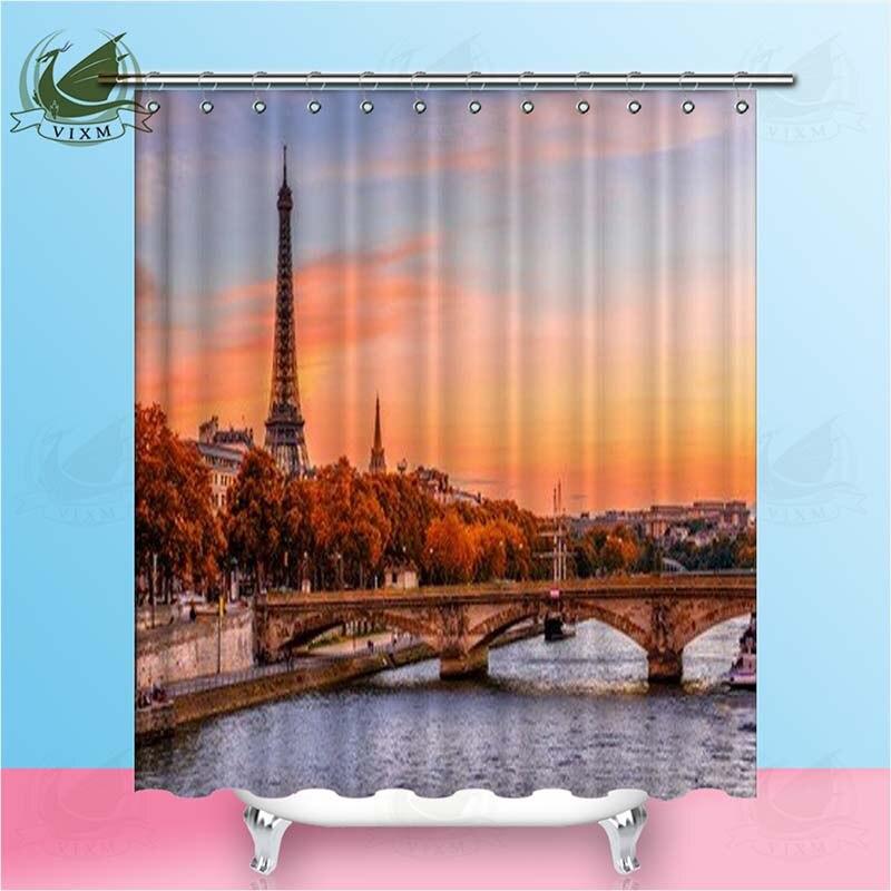Vixm Sunset View Van De Toren En Seine Rivier In Parijs Frankrijk Douchegordijnen Polyester Stof Gordijnen Voor Home Decor