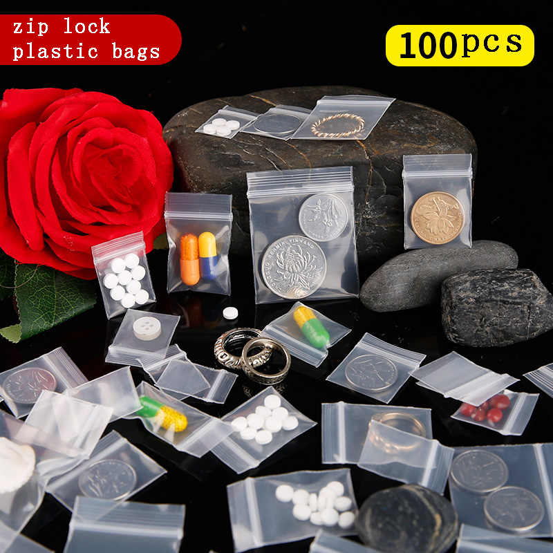 100pcs Mini Zipper Plastic Bags Ziplock Pill Packaging Pouches Small Zip lock Bags 0.12mm Thick Zip Lock Plastic Bags Food