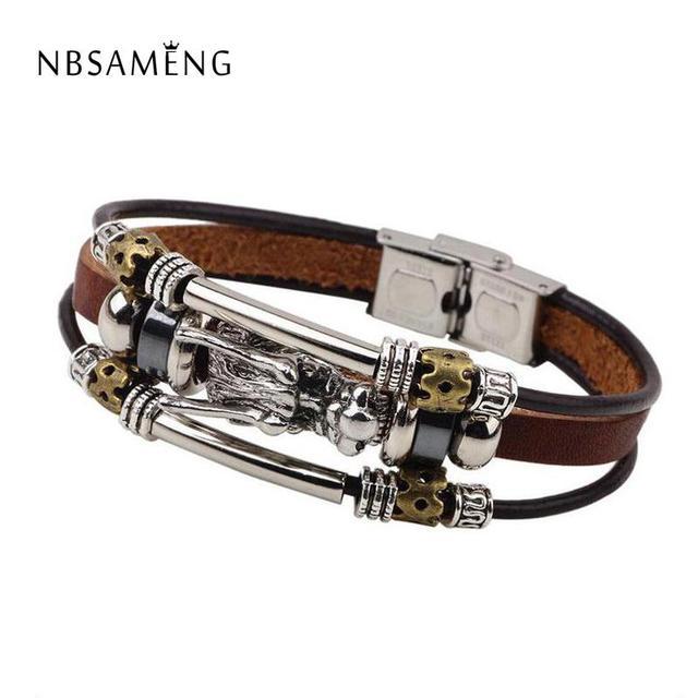 acheter populaire 09527 32326 Aliexpress.com : Buy Bracelet Men Accessoires Homme 2018 Tibetan Silver Men  Leather Bracelet Fashion Male Vintage Parataxis Dragon Multilayer Jewelry  ...