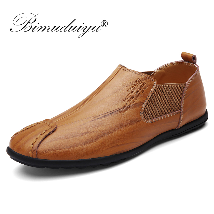 BIMUDUIYU Luxury Brand Fashion Men Casual Shoes Slip On Leather Men Shoes Loafers Moccasins Soft Breathable Flats Driving Shoes nis breathable mesh flat men shoes casual summer slip on shoes men patchwork stitching loafers sewing soft sole pu leather flats