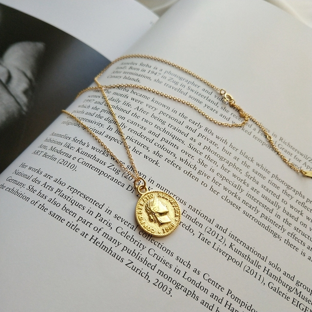 Dollar coin pendant necklace 925 sterling silver gold color round fashion portra