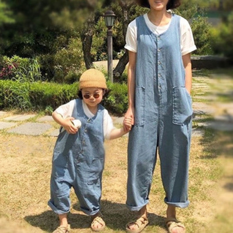 MILANCEL  Family Matching Clothes Denim Overalls Mommy And Me Clothes  Loose Style Mother And Daughter Overalls