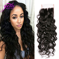 Cheap 5A Brazilian Water Wave Front Lace Closure 10-20 inch Free Part Size 4''x4'' 1pcs GEM Bele Brazilian Human Hair Weave 1b