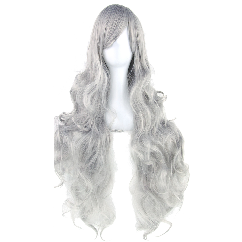 Perruque Cosplay Ondulée Violette Blonde Blanche Résistante à La Chaleur De 20 Couleurs