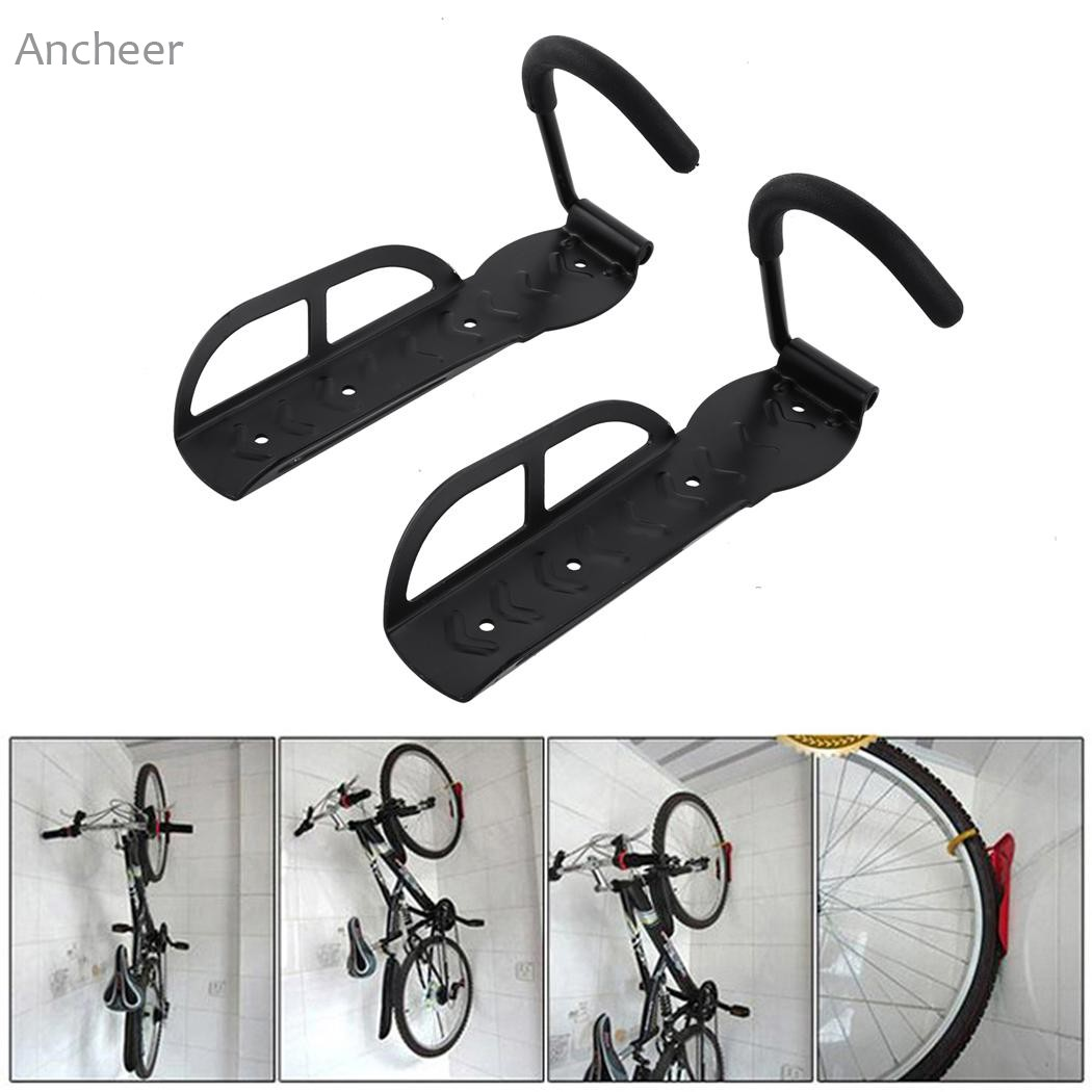 Garage Storage For Bikes Us 9 35 Bicycle Accessories 2pc Bicycle Bike Wall Mount Hook Hanger Garage Storage Steel Holder Rack Stand Wall Mounted Bicycle Pack In Bicycle