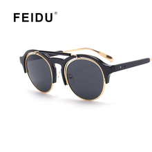 Feidu 2016 new llegada steampunk gafas de sol de mujer de marca diseño retro gafas de sol Para Mujeres Lente Redondo gafas De Sol Oculos UV400