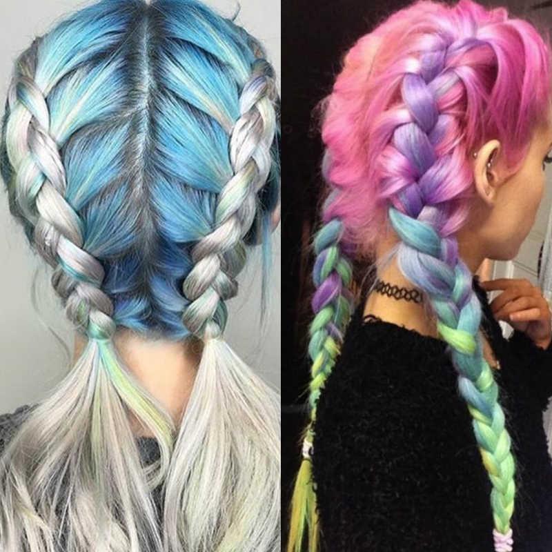 Синтетический Омбре крупное плетение наращивание волос термостойкие цветные косички крючком для женщин коробка аксессуары для косичек