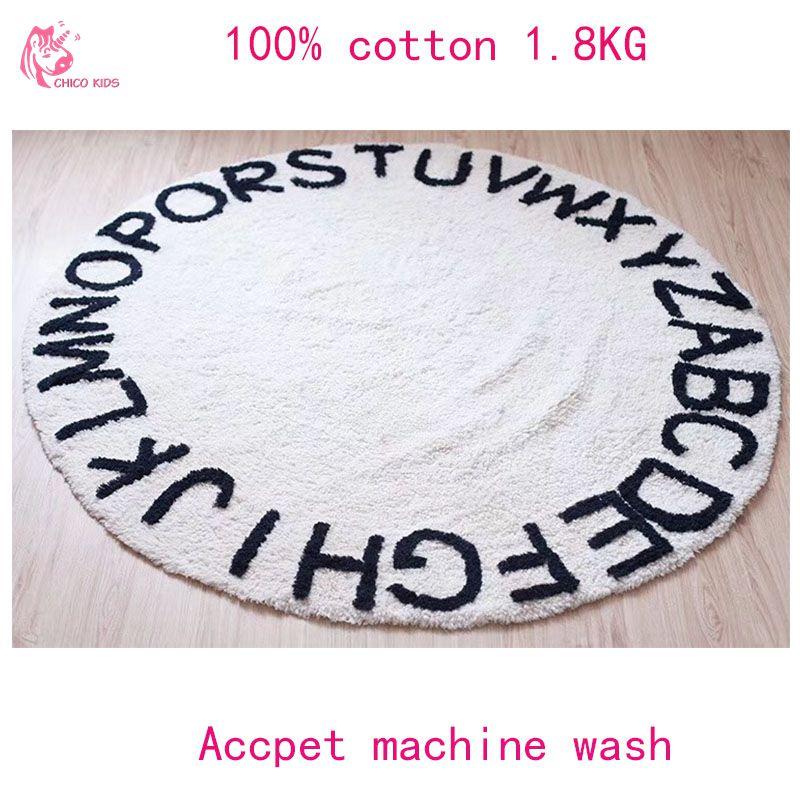 CHICOKIDS INS Hot Selling 100% Cotton White Round ABC RUG