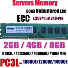 Server 8GB DDR3 1333MHz PC3-10600E ECC Unbuffered ram 4GB 2Rx8 PC3L-12800E DDR3L 1600MHz 1866 MHz PC3-14900E 240PIN UDIMM Memory цена