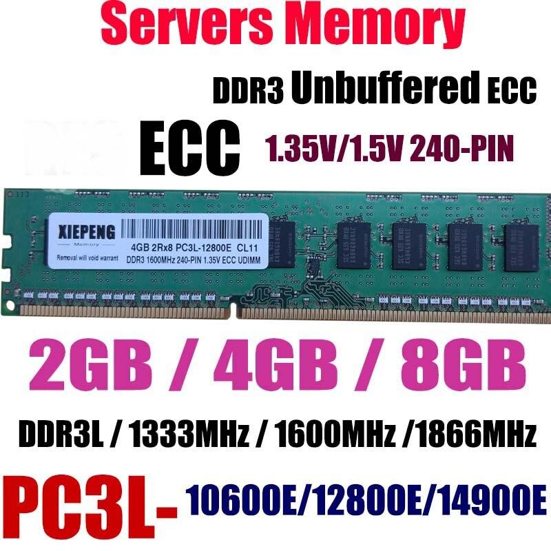 Servidor 8 GB DDR3 1333 MHz ECC Unbuffered ram 4 GB 2Rx8 PC3-10600E PC3L-12800E PC3-14900E DDR3L 1600 MHz 1866 MHz 240PIN UDIMM Memória