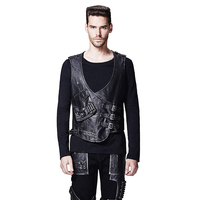 Steampunk men's delicate faux leather V neck jacket vest black dark slim pockets decorative sleeveless vest waistcoat