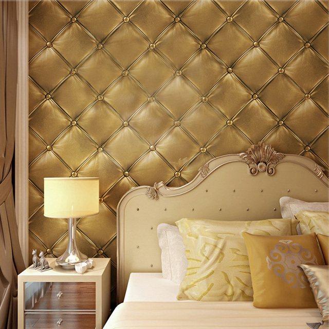 European style 3d stereoscopic soft pack faux leather textured wallpaper modern luxury bedroom wall paper roll