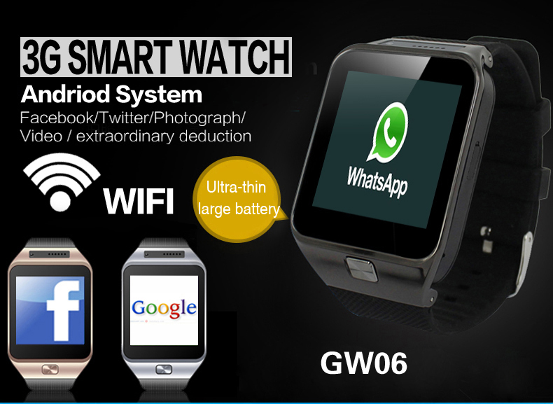 LCD 3G Samrtphone Watches Bluetooth Smart Watch Andrios Ios with 3G Wifi Internet Navigation Video Music Camera Weather Browser