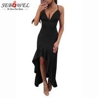 SEBOWEL Black Red Sexy Party Bodycon Dress Women Spaghetti Straps V Neck Backless Ruffle Maxi Dresses
