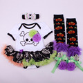 4PCs per Set Baby Girls' Halloween Black Skull Tutu Dress Infant Costume Outfit Headband Shoes Leg Warmers