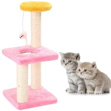 Home Pet 3 Layers Cat Climbing Tree Scraper Pole Board Hanging Toy Activity Center Jump Tower Foot Furniture