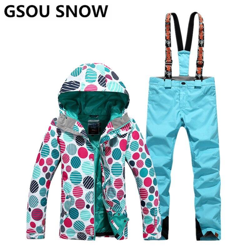 Gsou Neige Femmes Ski Costumes D'hiver Snowboard Vestes et Pantalons Coupe-Vent Imperméable À L'eau Coloré Femelle Sports de Plein Air Ski Ensembles