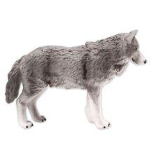 Figuras de acción modelo de animales de simulación juguetes educativos para niños coleccionables divertidos lobo gris