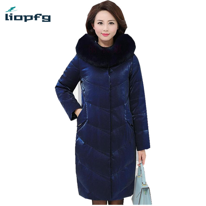 2017 New Fashion Large Size Women Down Jackets Winter Duck Down Coat With Big Fur Hooded Collar Thick Warm Parkas PQ074 2017 new winter fashion women down jacket hooded thick super warm medium long female coat long sleeve slim big yards parkas nz18