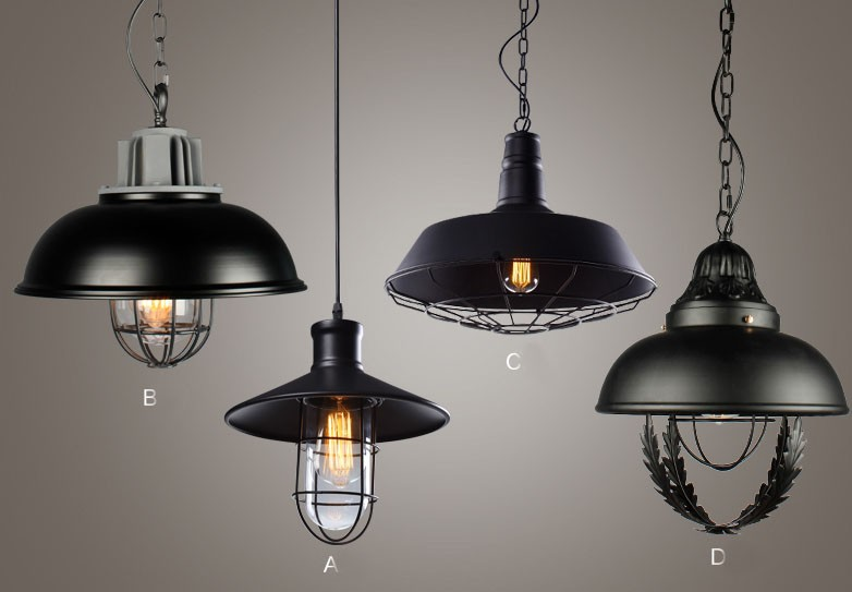 Loft American Country Style Iron Single Head Pendant Lights Bar Personalized Pendents Vintage Living Room Pendent Light