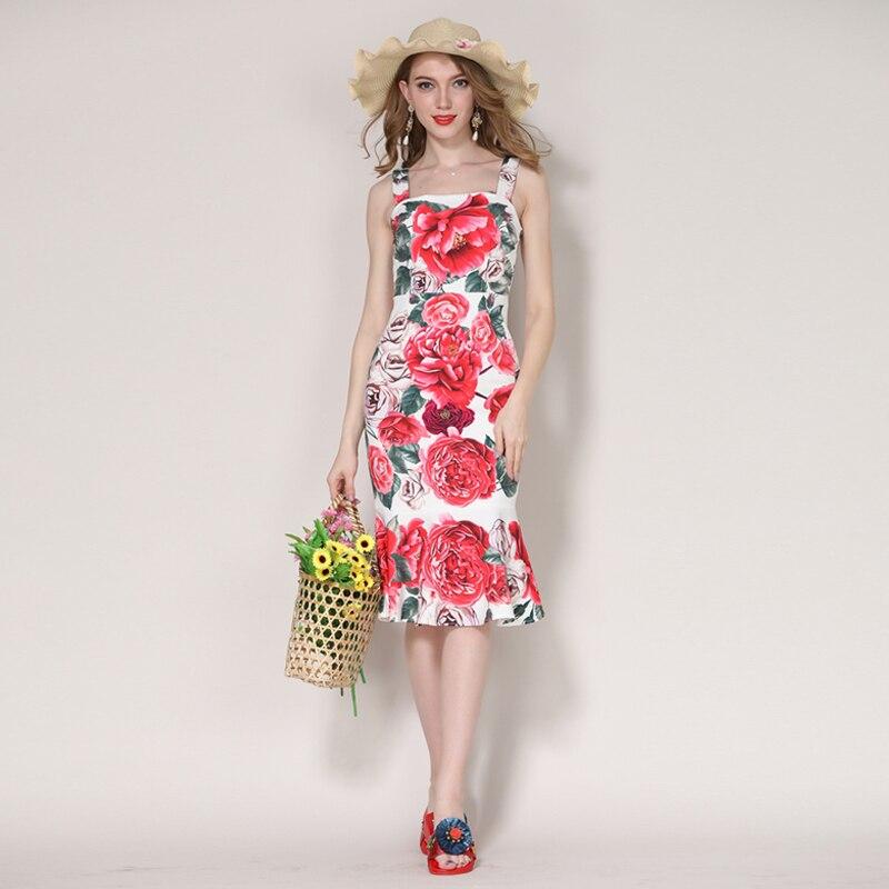 Femmes Floral Youe D'été 2018 Genou De longueur Sirène Sans Grand Robe Brillait Piste Nouveau Imprimé Manches Designer Luxe Pr8xSP
