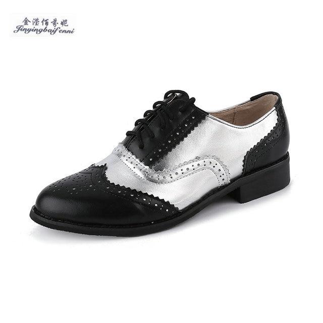 16d73d7cf73f Taille 33-47 Brogue Oxford Chaussures Femmes en cuir Véritable À La Main d