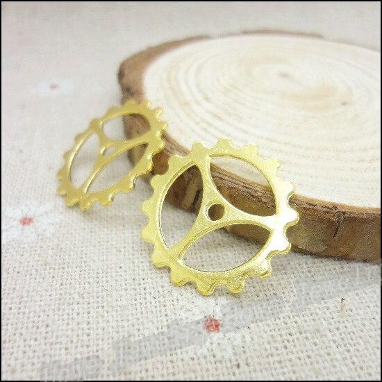 Wholesale  75 PCS Gold-color Charms Gear Pendant  Fit Bracelets Necklace DIY Metal Jewelry Making