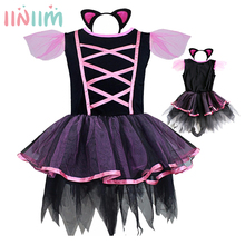Kitty Cat Costume Carnival Halloween Christmas Girls Party Cosplay Costume for Children Kids Dress Sets Tulle Tutu Lace Clothing