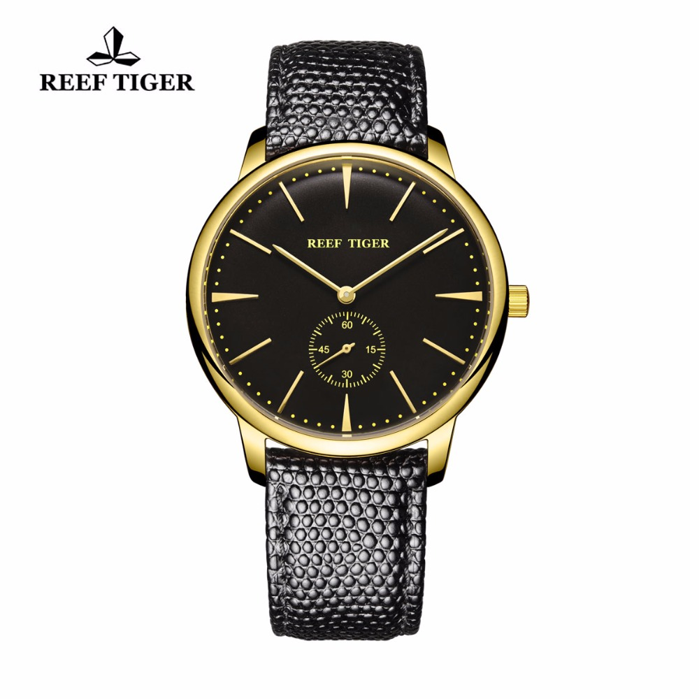 Reef Tiger/RT Couple Watches Classic Brand Quartz Vintage Watch for Men Ultra Thin Design Yellow Gold RGA820