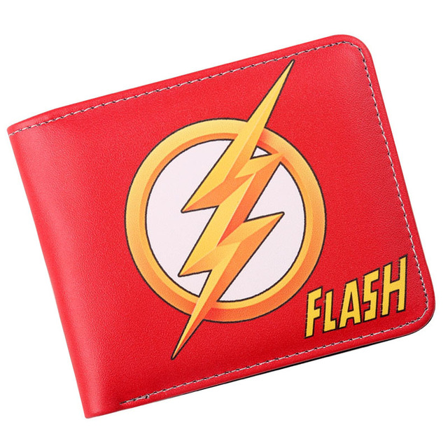the flash comic logo bi fold wallet mens credit card holder id cash