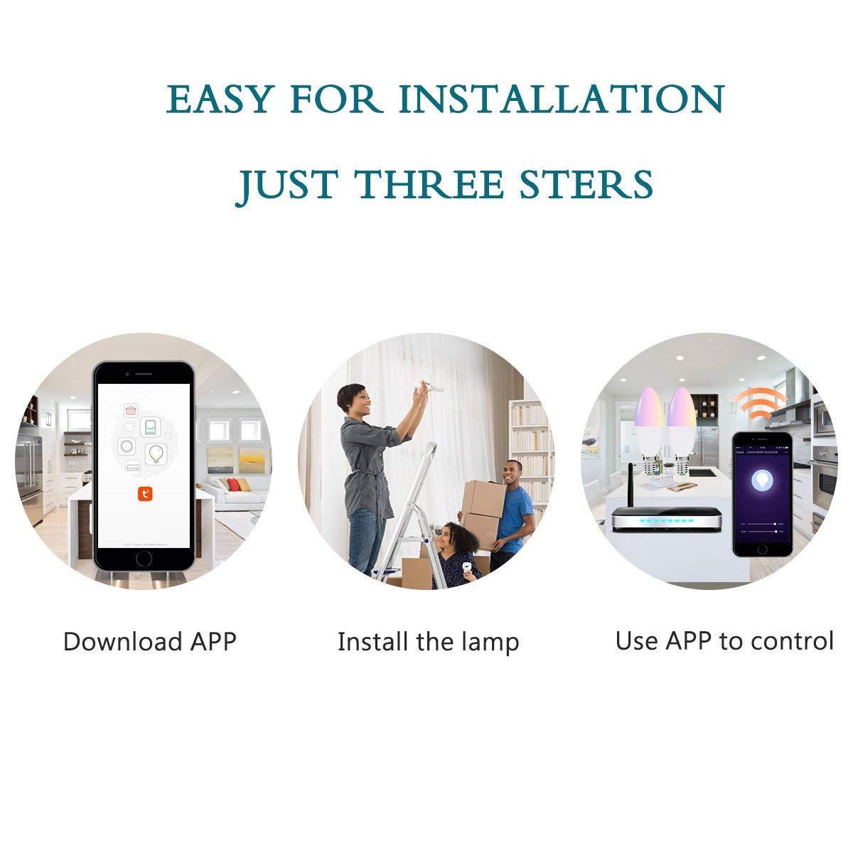 Inteligente E14 WiFi LED bombillas de vela trabaja con Alexa Google hogar 5 W igual a 40 W bombilla LED RGB + blanco cálido color cambiar luz de estado de ánimo