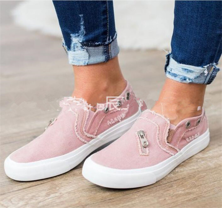 Summer Women Round Toe casual shoes ladies Breathable sneakers Canvas zipper platform shoes Female denim Slip on Loafers A448Summer Women Round Toe casual shoes ladies Breathable sneakers Canvas zipper platform shoes Female denim Slip on Loafers A448