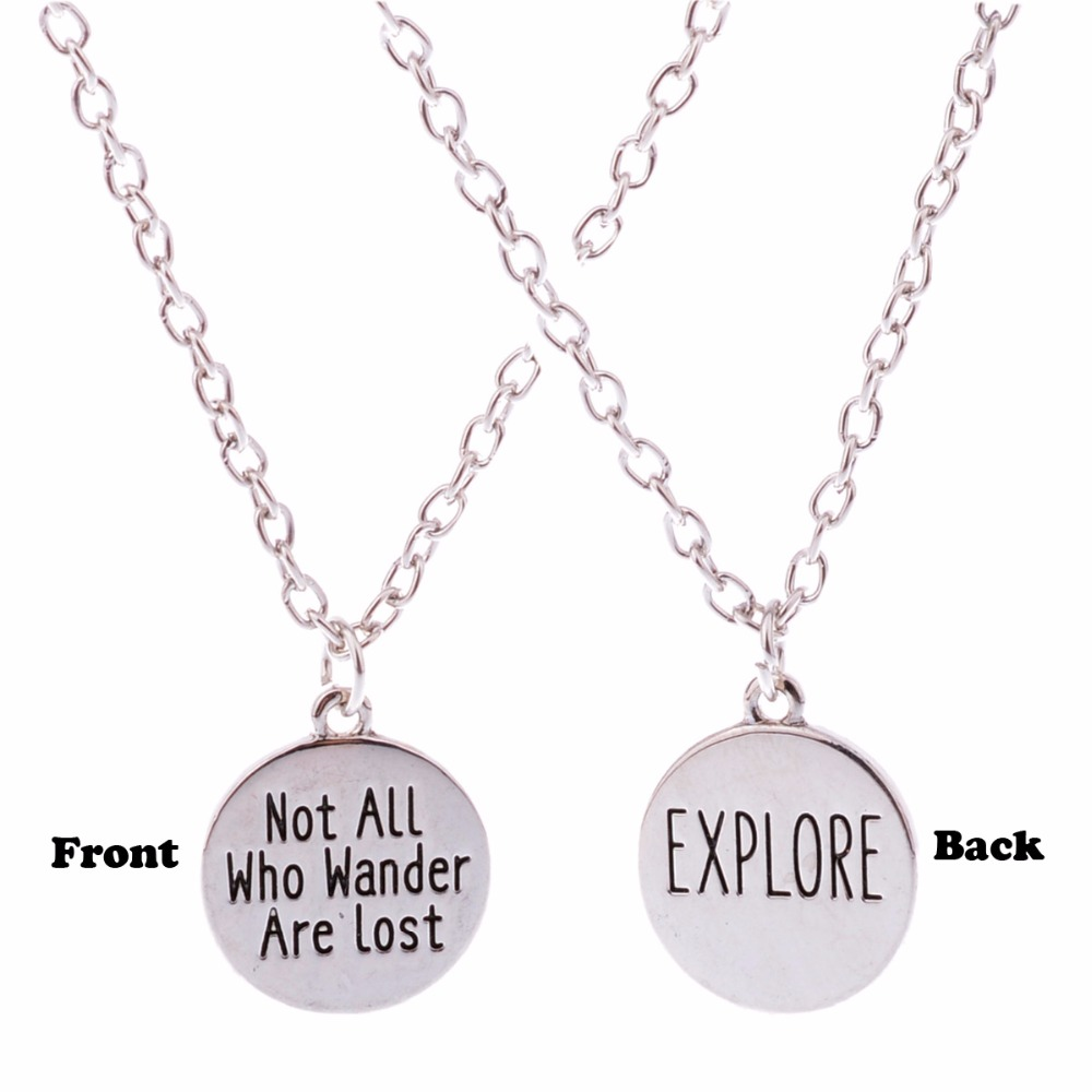 Fashion Not All Who Wander Are Lost Pendant Charm Chain Necklace For Women Girls Wanderlust Jewelry Travelers Necklaces Gifts
