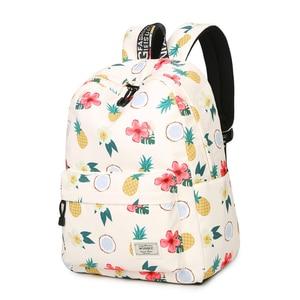 Image 2 - Simple Qualities Comfortable Girl Waterproof Polyester Backpacks Cute Pineapple Printing Female Students Backpack Bag
