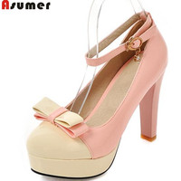 Asumer platform shoes heels women pumps high heels summer pu patent leather round toe sweet top quality charm big size 34 43