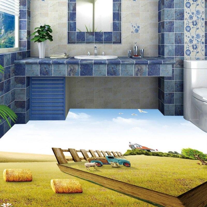 Free Shipping 3D Bathroom Washroom Hotel Walkway Restaurant Floor Painting Lawn Waterproof Floor Mural