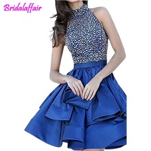 2019 Halter Short Prom Dresses Beading Homecoming Sequin quinceanera girls dresses graduacion Party cocktail dress