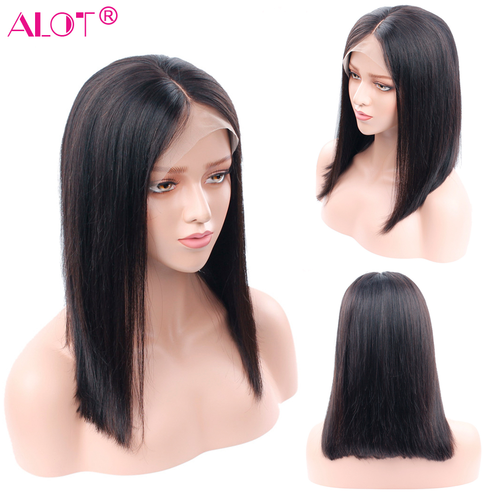 Alot Short Lace Front Human Hair Wigs 150 Density Brazilian Straight Bob Lace Frontal Wig Pre