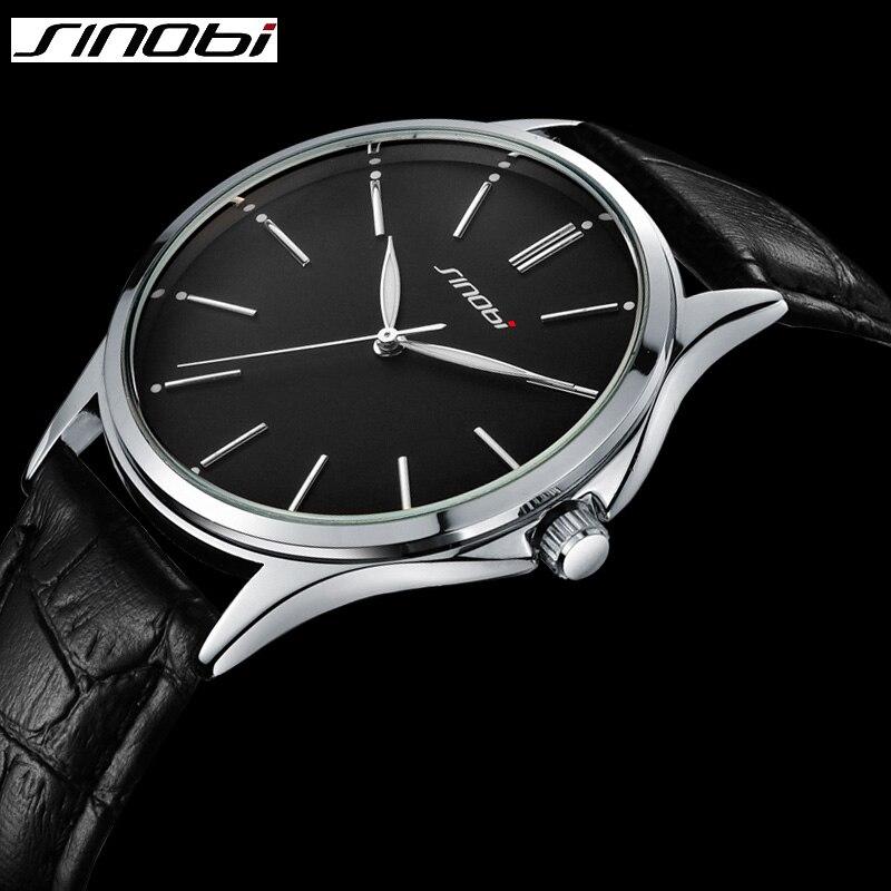 SINOBI Mans Designer  Watch Black Leather Strap Geneva Male Steel Wristwatch Top Brand Luxury Knockoff Quartz-watch Uhre jubaoli rotatable bezel male watch quartz leather strap wristwatch